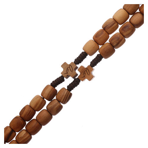 Medjugorje rosary with 7 mm olive wood grains and brown rope 3