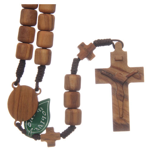 Medjugorje rosary with crosses, 6 mm grains in olive wood and brown rope 2