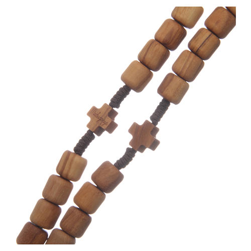 Medjugorje rosary with crosses, 6 mm grains in olive wood and brown rope 3
