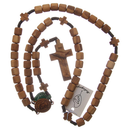 Medjugorje rosary with crosses, 6 mm grains in olive wood and brown rope 4