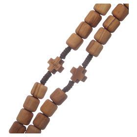 Rosario Medjugorje cruces granos 6mm olivo cuerda marrón s3