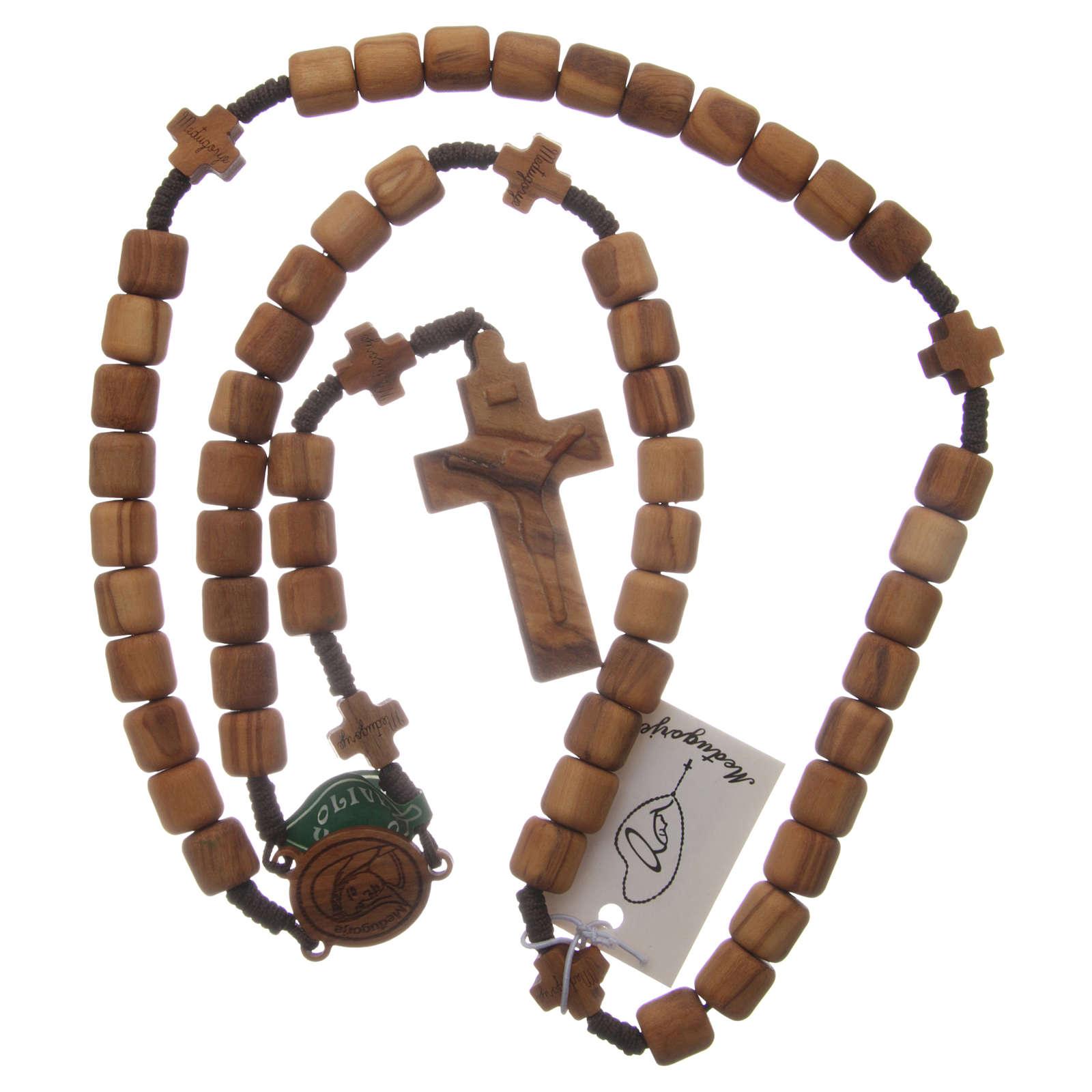 Chapelet Medjugorje croix grains 6 mm olivier corde marron 4