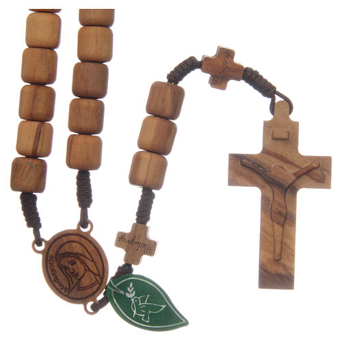 Chapelet Medjugorje croix grains 6 mm olivier corde marron 1