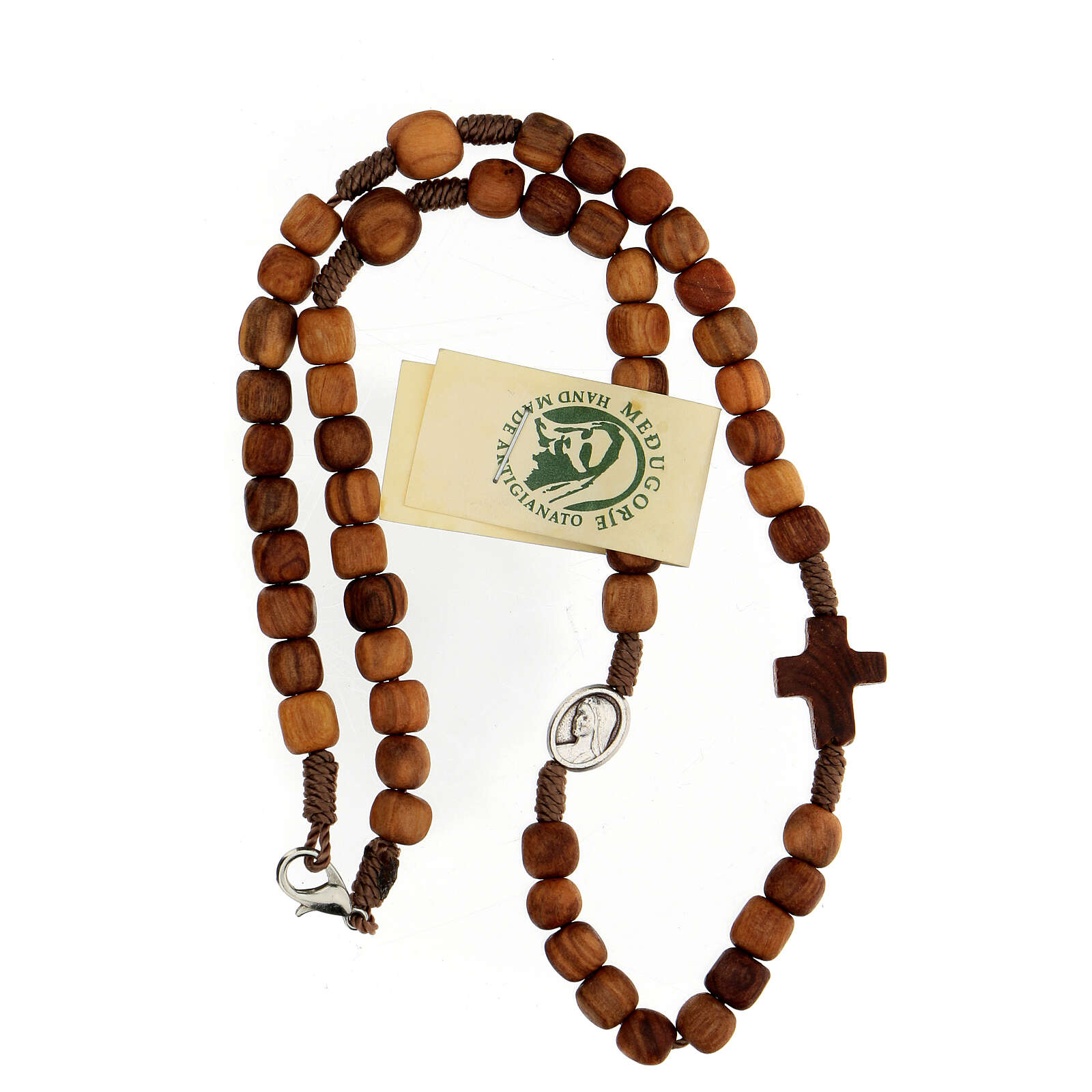 Medjugorje rosary choker with olive wood grains and brown rope 4
