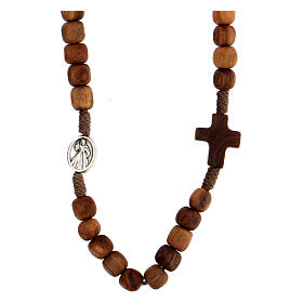 Medjugorje rosary choker with olive wood grains and brown rope s2