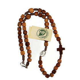 Medjugorje rosary choker with olive wood grains and brown rope s4