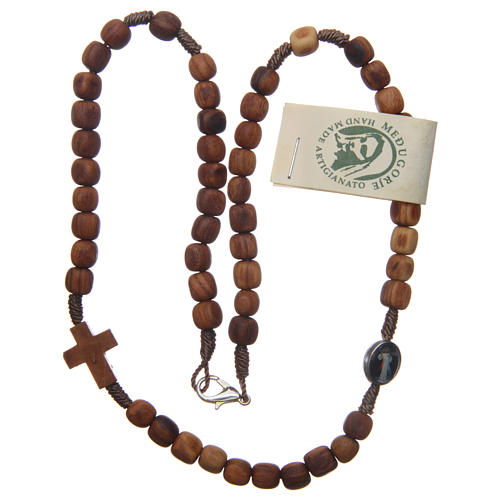 Medjugorje rosary choker with olive wood grains and brown rope 2