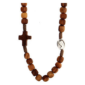 Medjugorje rosary choker with olive wood grains and brown rope s1