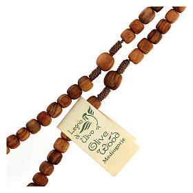 Medjugorje rosary choker with olive wood grains and brown rope s3