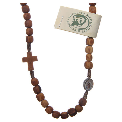 Medjugorje rosary choker with olive wood grains and brown rope 1