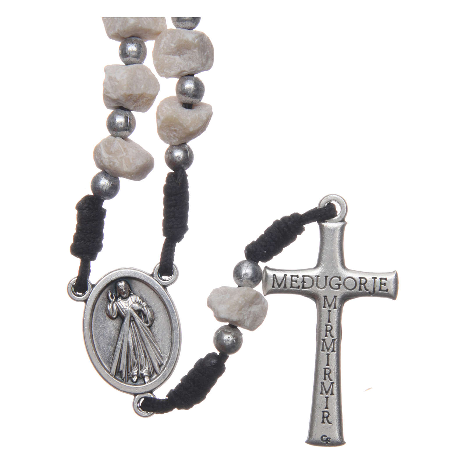 Rosenkranz aus Medjugorje mit Perlen aus Stein auf einer schwarzen Kordel 4