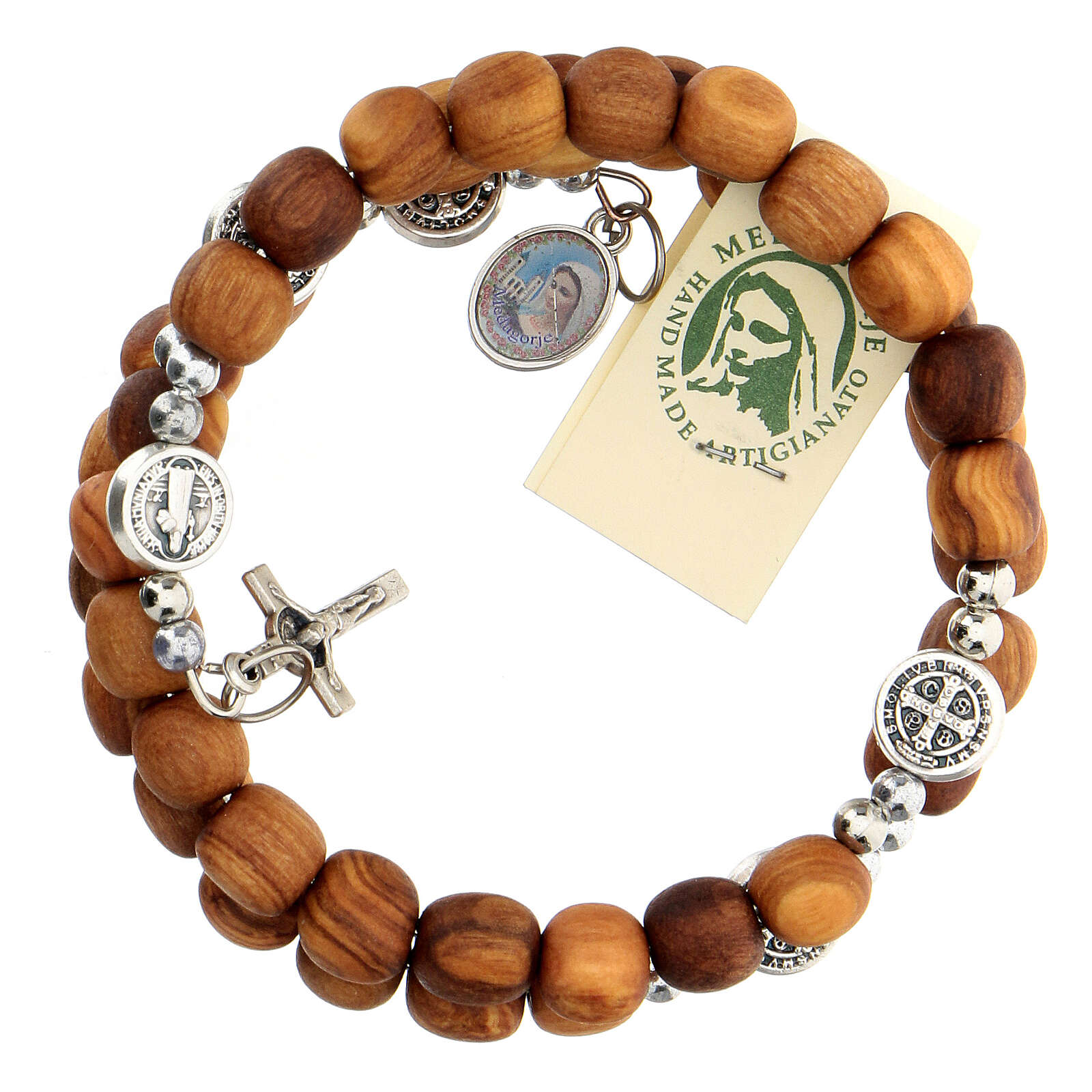 Medjugorje rosary Saint Benedict with spring and olive wood grains 4