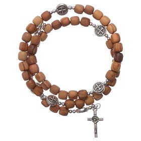 Medjugorje rosary Saint Benedict with spring and olive wood grains s2