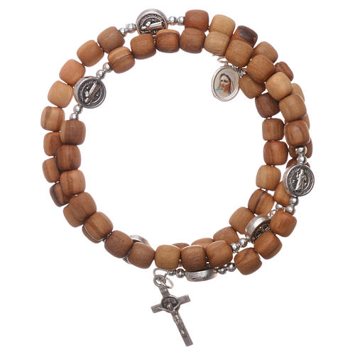 Medjugorje rosary Saint Benedict with spring and olive wood grains 1