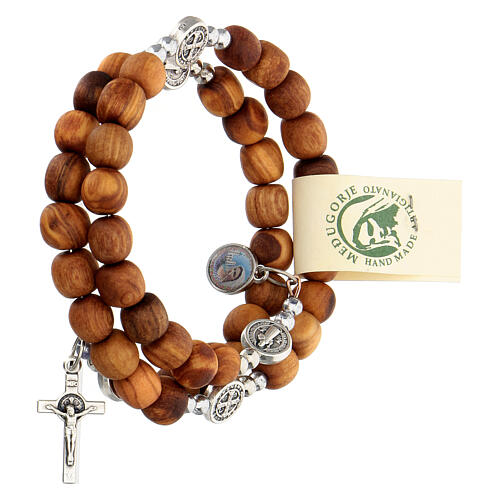 Medjugorje rosary Saint Benedict with spring and olive wood grains 2