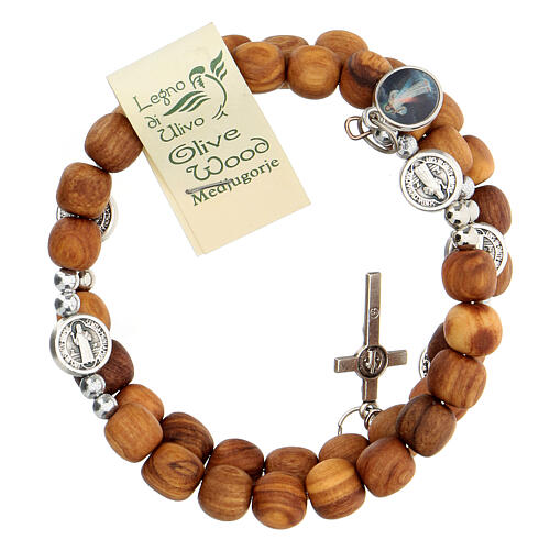 Medjugorje rosary Saint Benedict with spring and olive wood grains 3