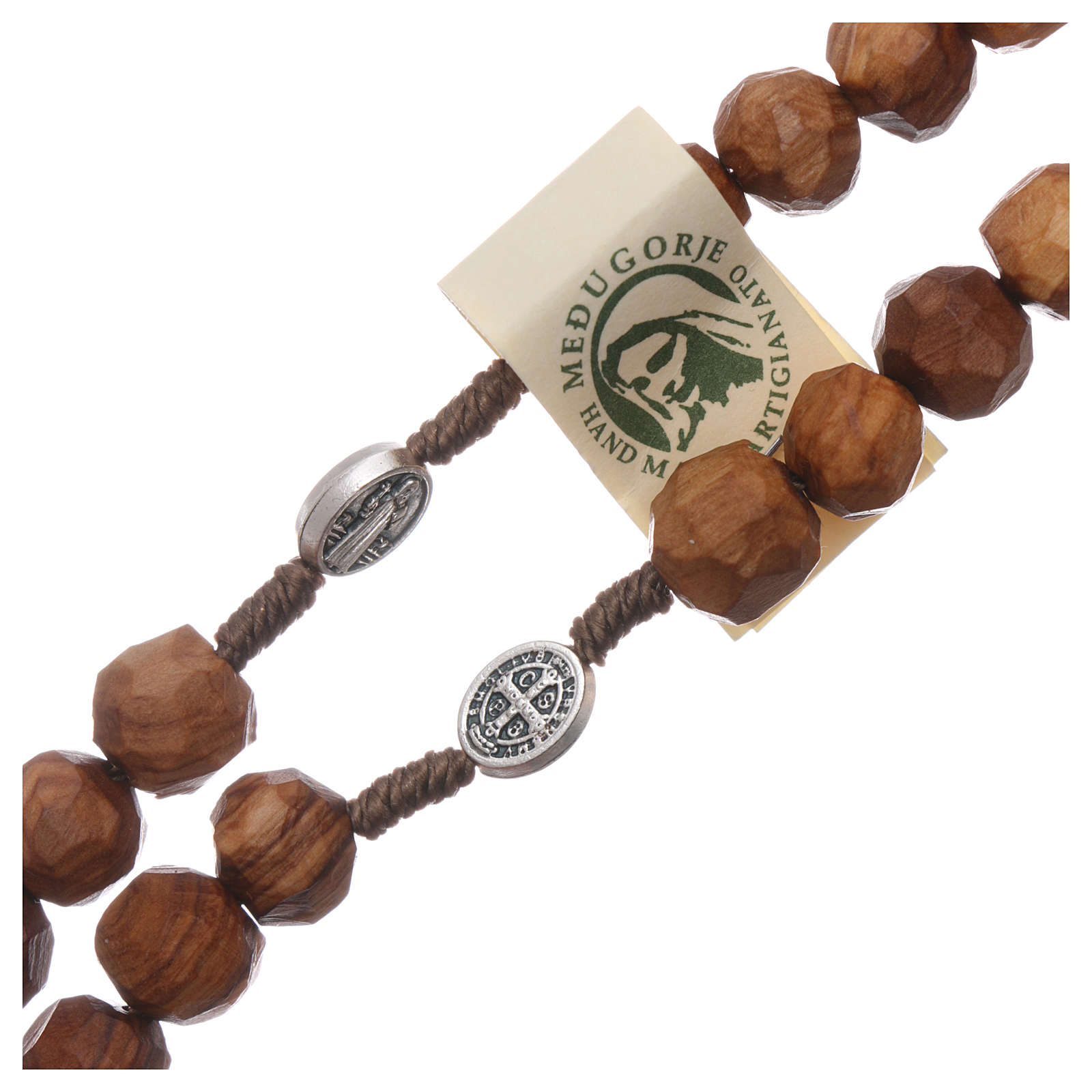 Medjugorje rosary Saint Benedict with olive wood grains 9 mm and cross 4