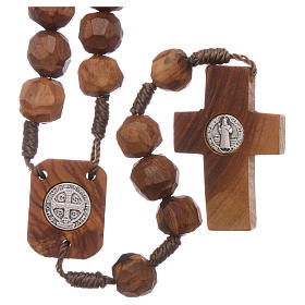 Medjugorje rosary Saint Benedict with olive wood grains 9 mm and cross s2