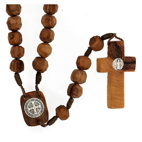 Medjugorje rosary Saint Benedict with olive wood grains 9 mm and cross 2