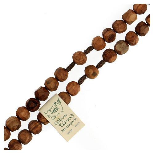 Rosario Medjugorje granos olivo 9 mm cruz S. Benito 3