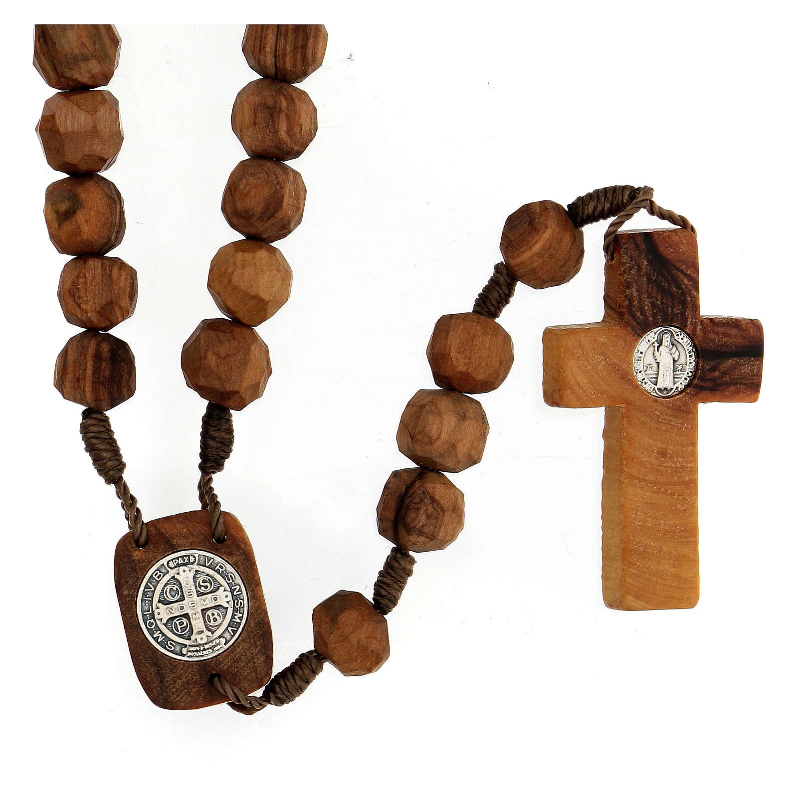 Medjugorje rosary with olive wood beads 9 mm, Saint Benedict medals and cross 4