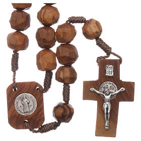 Medjugorje rosary with olive wood beads 9 mm, Saint Benedict medals and cross s1