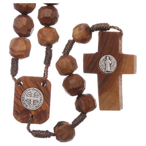 Medjugorje rosary with olive wood beads 9 mm, Saint Benedict medals and cross 2