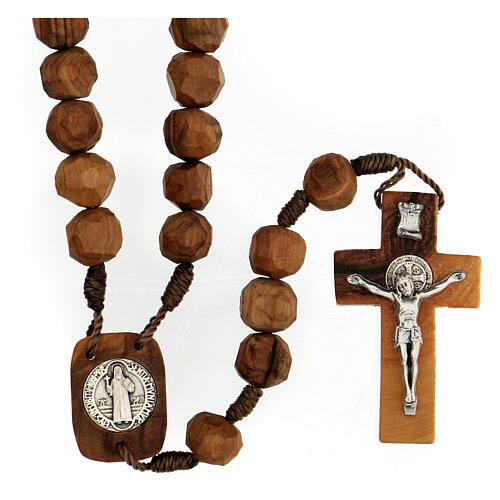 Medjugorje rosary with olive wood beads 9 mm, Saint Benedict medals and cross 1