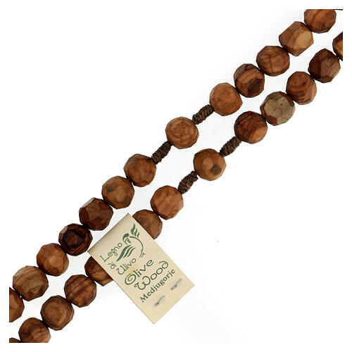 Medjugorje rosary with olive wood beads 9 mm, Saint Benedict medals and cross 3