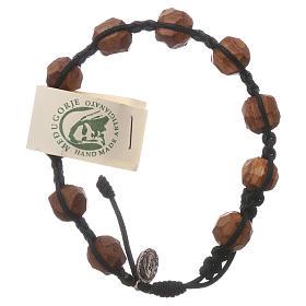 Bracelets, dizainiers: Chapelet Medjugorje grains 9 mm olivier corde noire