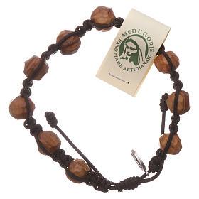 Bracelets, dizainiers: Chapelet Medjugorje grains 9 mm olivier corde marron