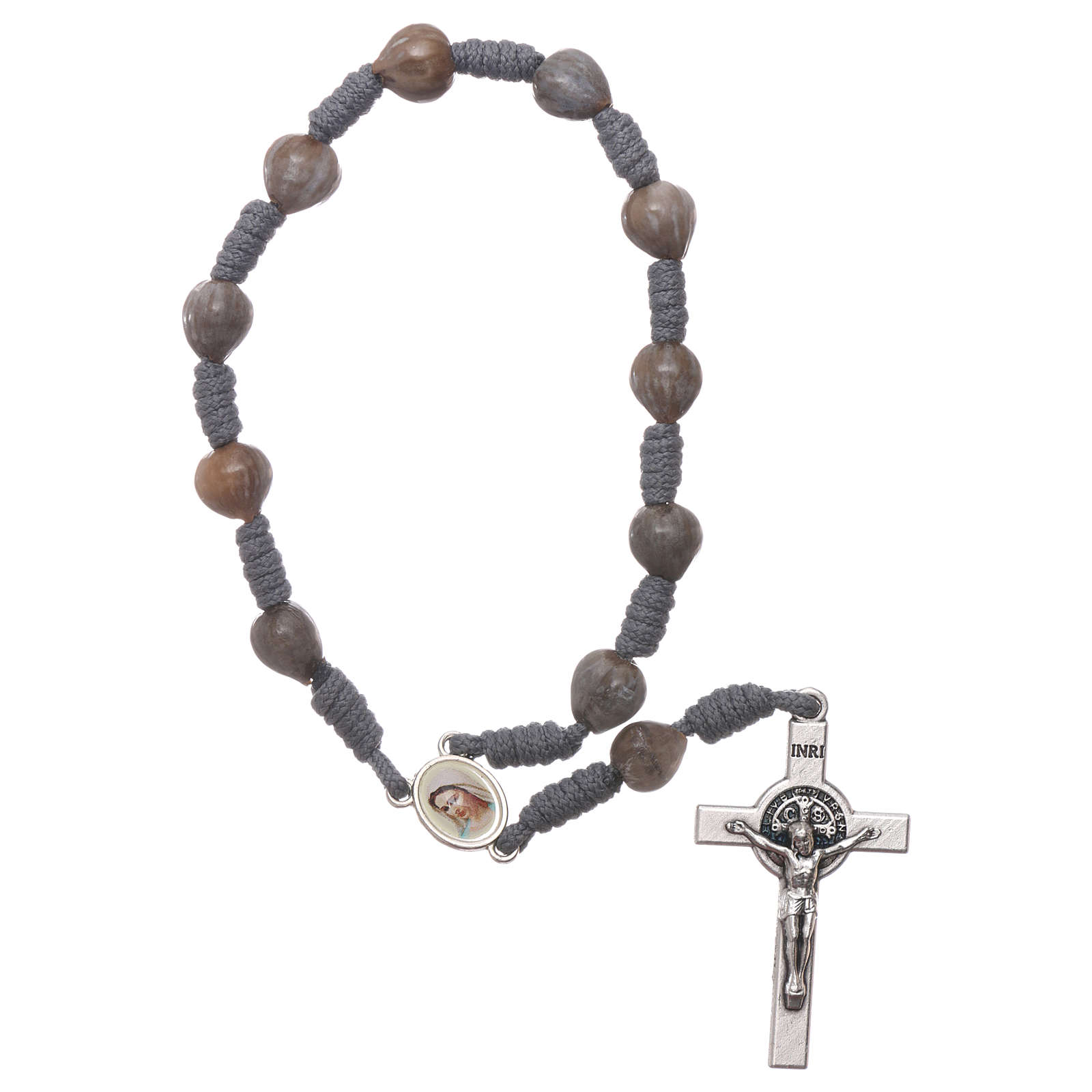 Medjugorje single decade rosary tears of Job with grey rope 4