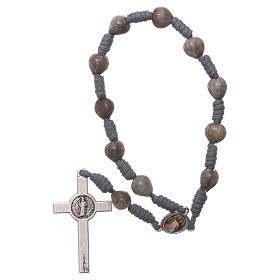 Medjugorje single decade rosary tears of Job with grey rope s2