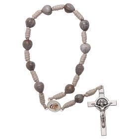 Medjugorje single decade rosary tears of Job in beige rope s1