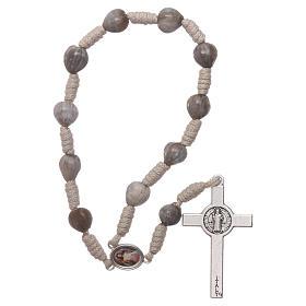 Medjugorje single decade rosary tears of Job in beige rope s2