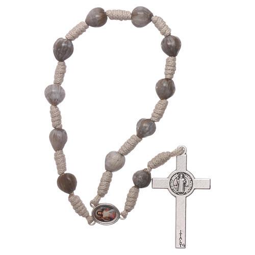 Medjugorje single decade rosary tears of Job in beige rope 2