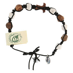 Medjugorje decade bracelet olive Tau and white pebbles, brown rope s4