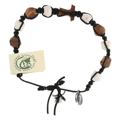 Medjugorje decade bracelet olive Tau and white pebbles, brown rope 4