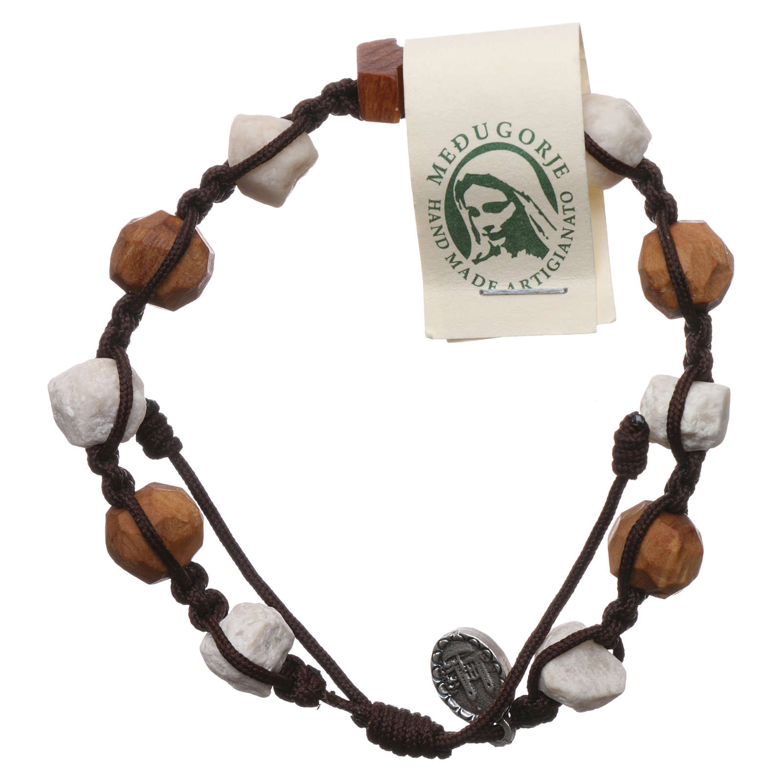 Pulsera Medjugorje decena Tau olivo y piedras blancas cuerda marrón 4