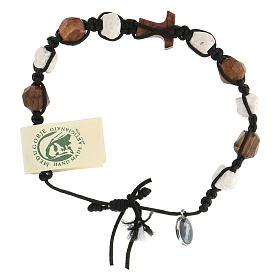 Bracelet Medjugorje dizainier Tau olivier et cailloux blancs corde s4