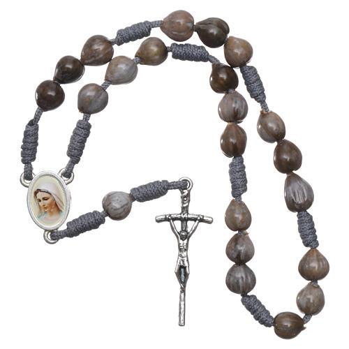 Medjugorje beads Job's Tears, grey rope 3