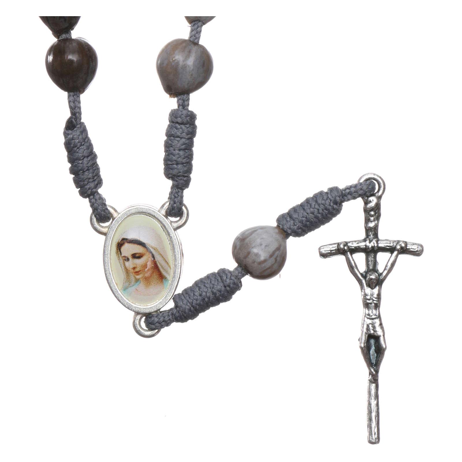 Chapelet de Medjugorje avec Larmes de Job corde grise 4