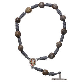 Medjugorje rosary bracelet Job's Tears, grey rope s2