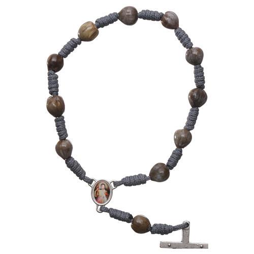 Medjugorje rosary bracelet Job's Tears, grey rope 2