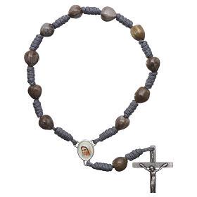Bracelets, dizainiers: Dizainier Medjugorje Larmes de Job corde grise croix 4x2