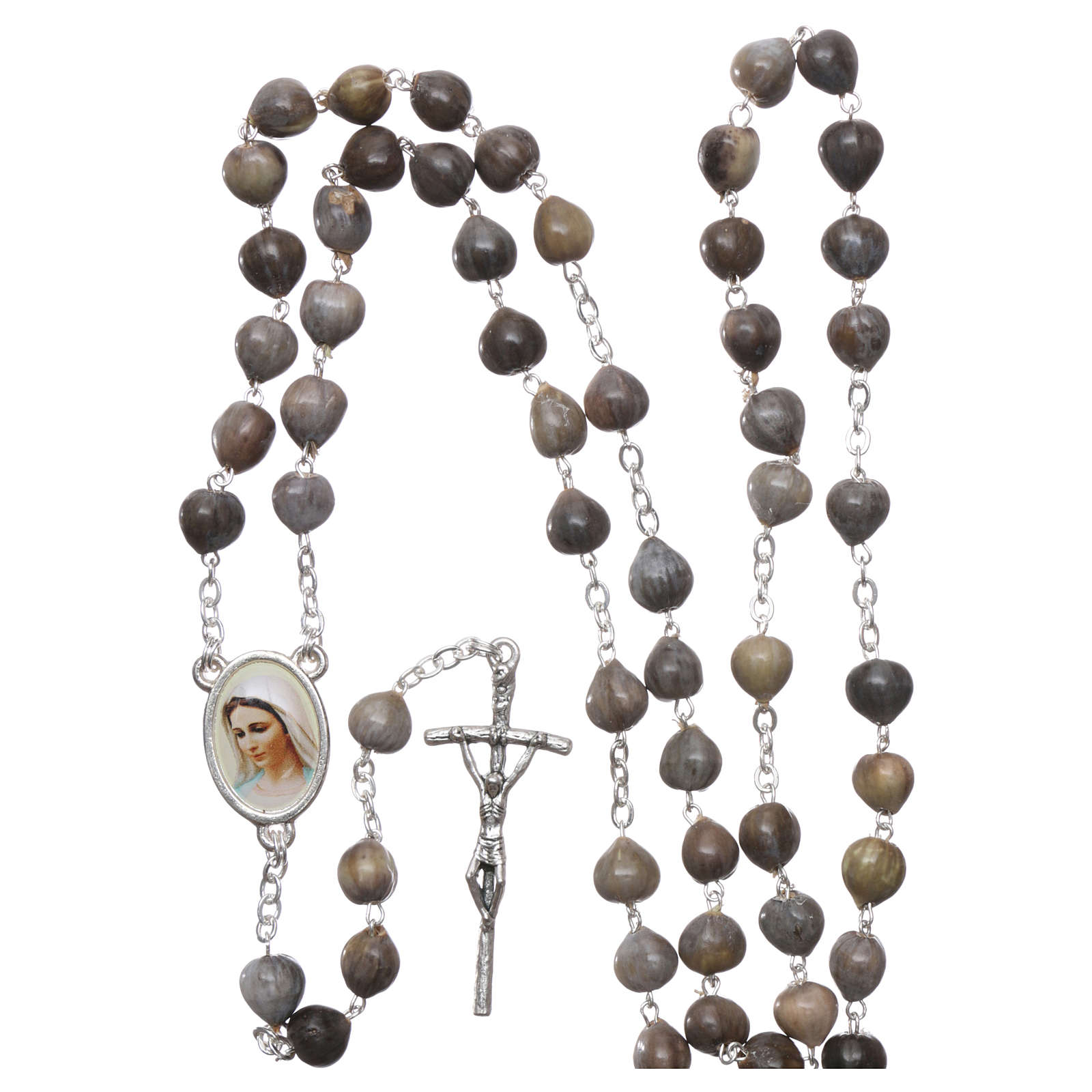 Medjugorje Rosary with Job's Tears and chain 4