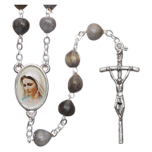 Medjugorje Rosary with Job's Tears and chain 1
