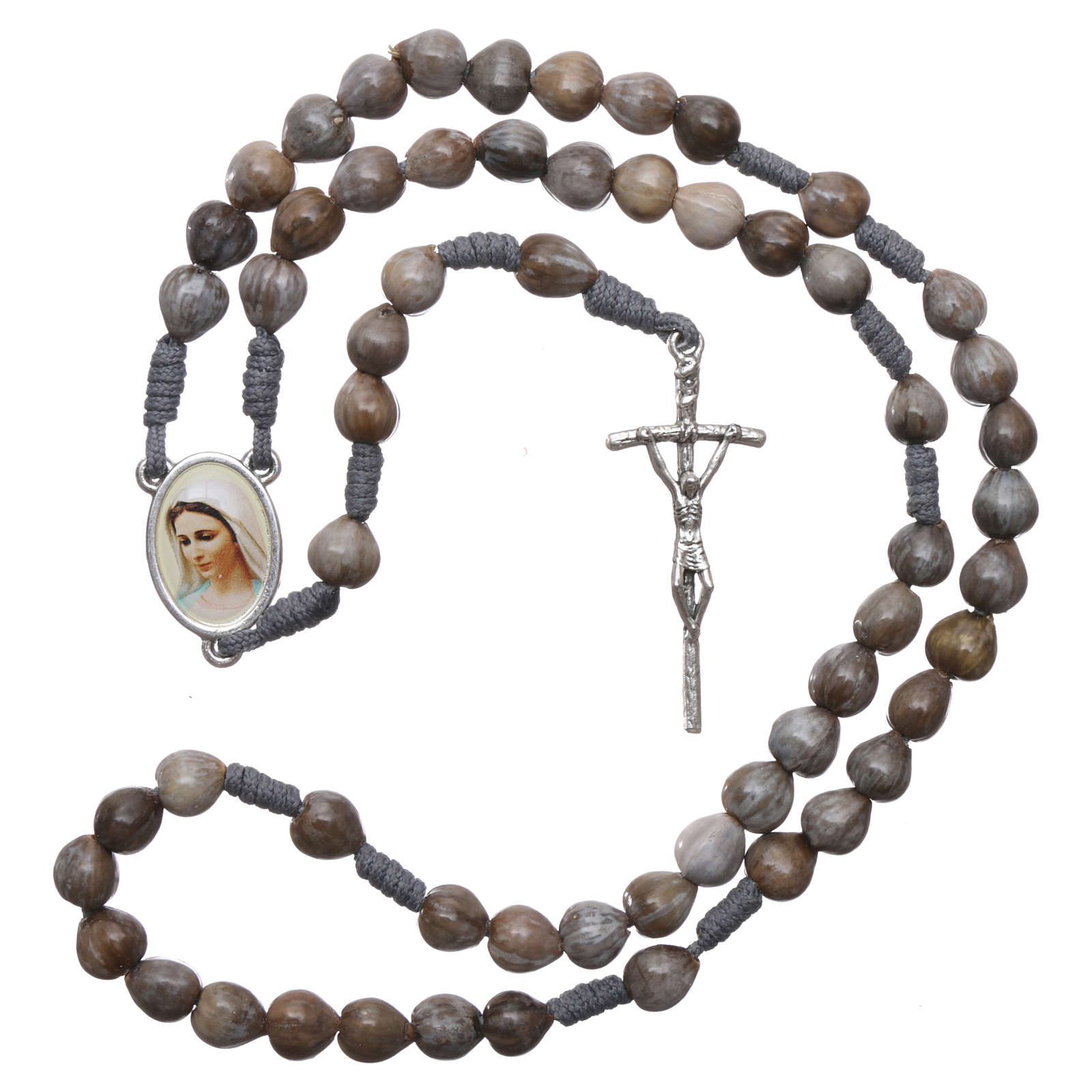 Medjugorje rosary Job's Tears, grey rope 4