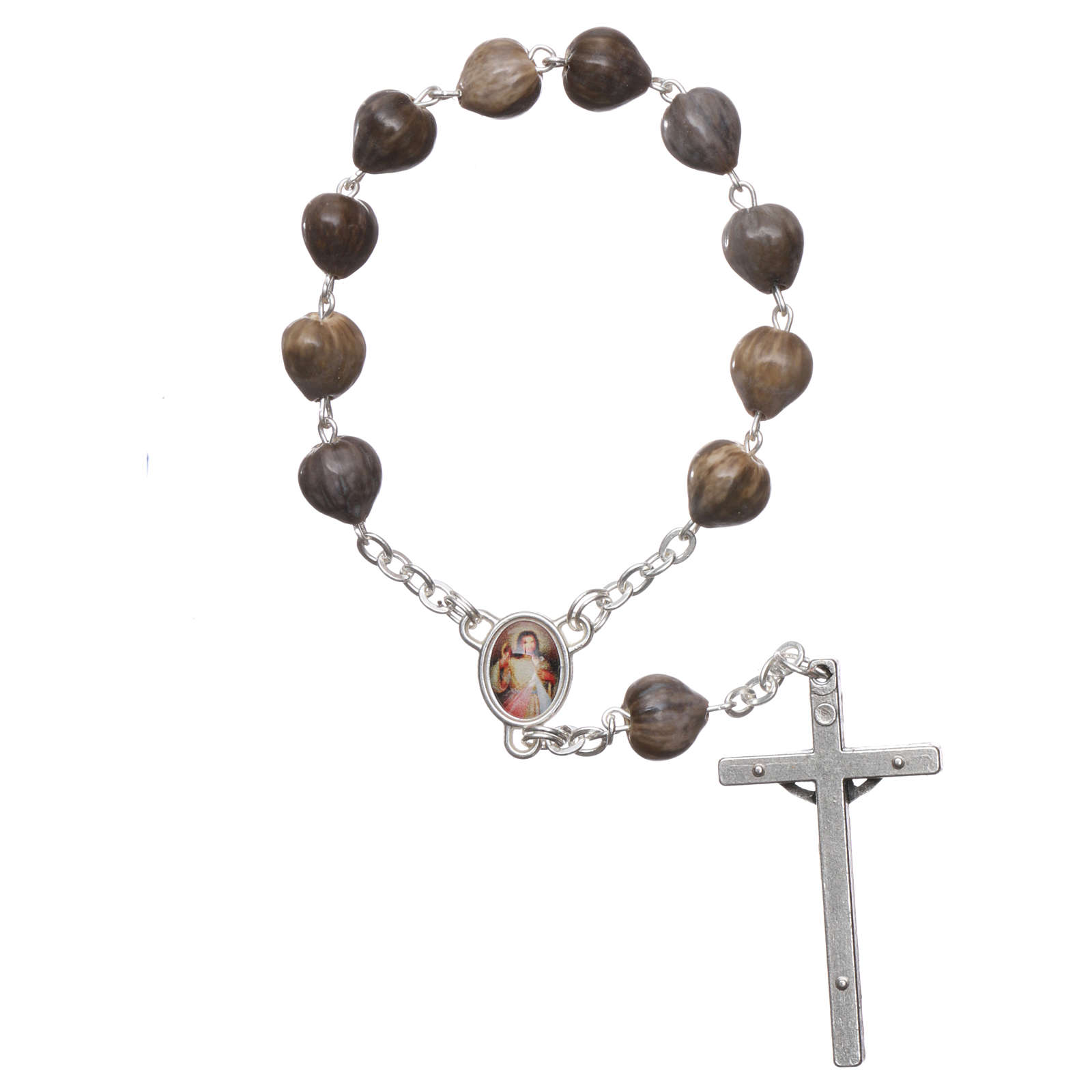 Medjugorje decade Job's Tears, chain with cross 4x2 cm 4