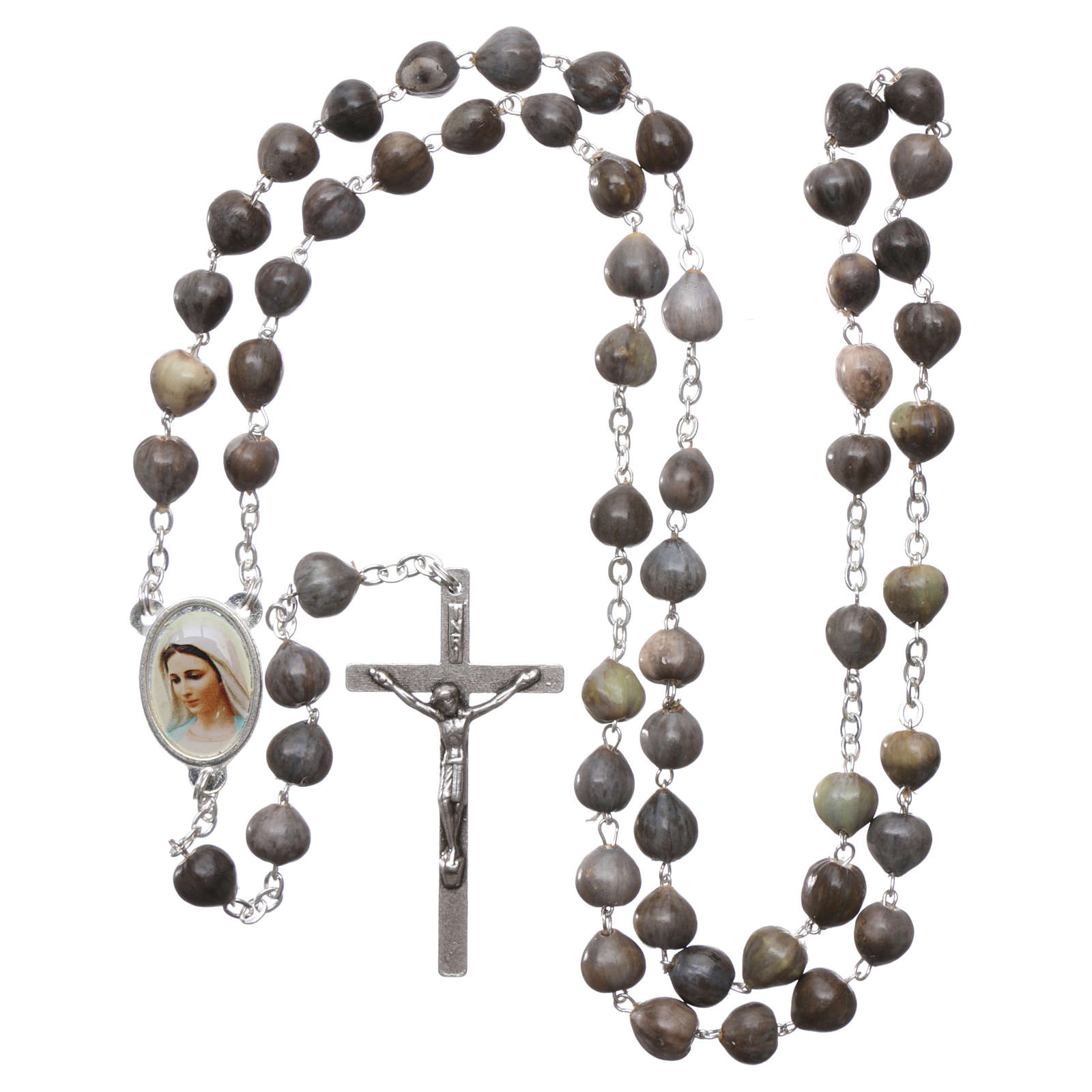 Medjugorje rosary Job's Tears, chain and cross 4